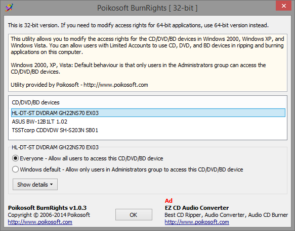 Modify CD/DVD/BD access rights