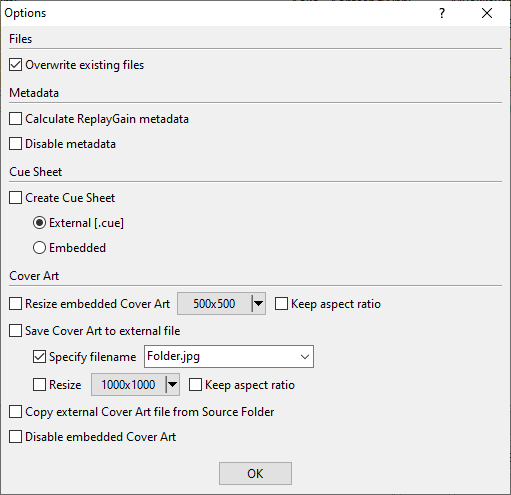 Audio Converter Options - Single File
