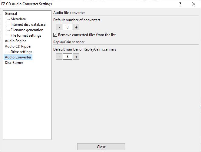 Audio Converter settings