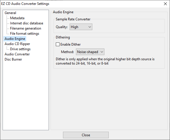 Audio CD Ripper settings