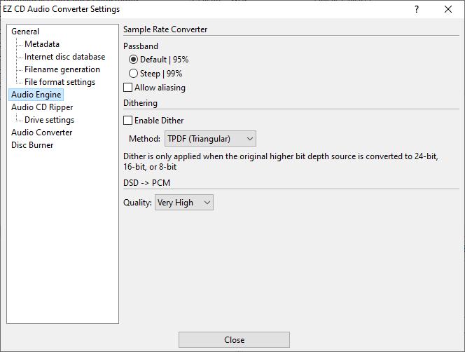 Audio Engine settings