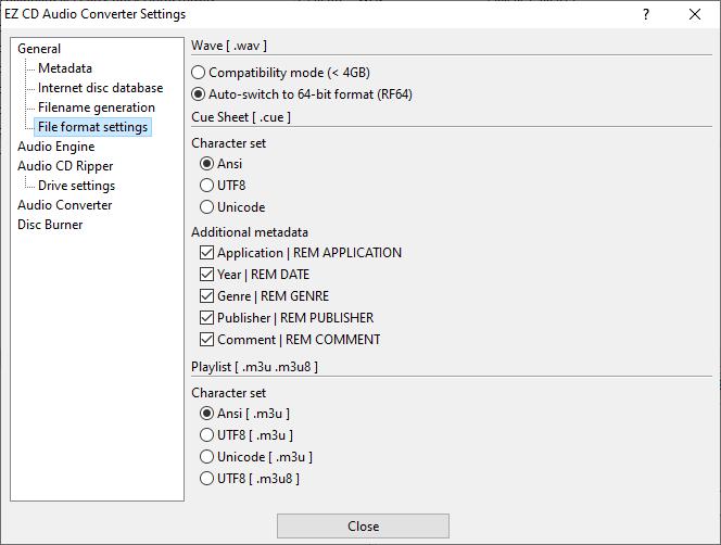 File format settings