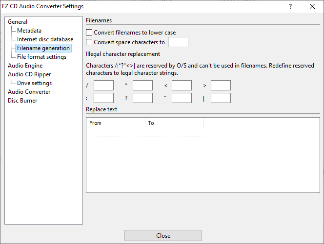 Filename generation settings