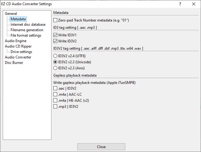 Metadata settings