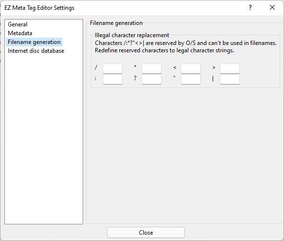 Filename generation settings